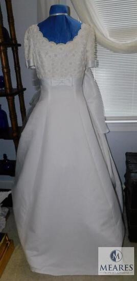 Vintage Lady Eleanor Wedding Dress with Train and beaded top & Stand