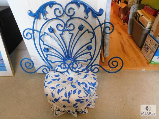 Blue and White Tufted Footstool with Wood Legs - includes Blue Iron Wall Sconce