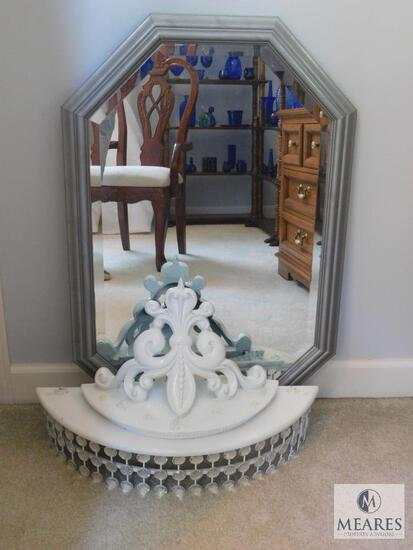 Lot: Silver frames, Beveled Glass Mirror and White Wall Shelf