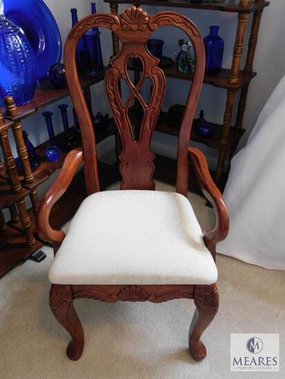 Carved Wood Accent Chair with Ivory Upholstered Seat