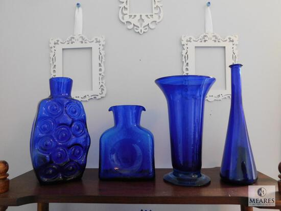 Lot of 4: Cobalt Blue Glass Vases