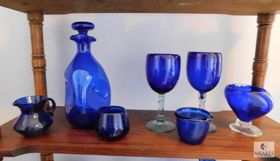Lot of 7: Cobalt Blue Glass Decorations