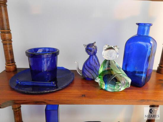 Lot of 5: Cobalt Blue Glass Decorations with a Pair of Green Glass Cats