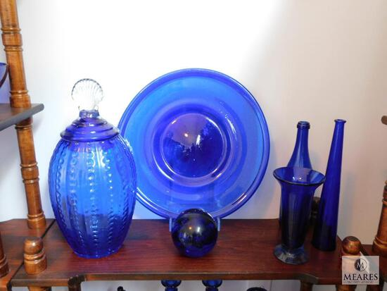 Lot of 6: Cobalt Blue Glass Decorations with Charger Holder