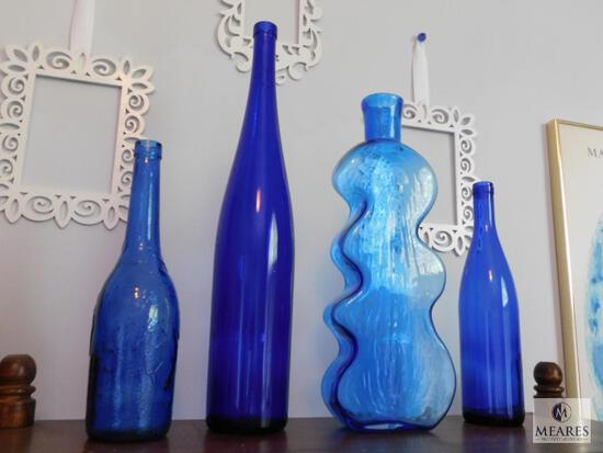 Lot of 4: Tall Cobalt Blue Glass Decorations