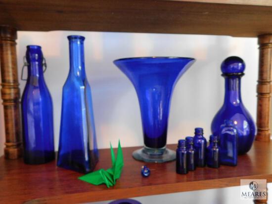 Lot of 10: Cobalt Blue Glass Decorations