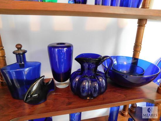 Lot of 6: Cobalt Blue Glass Decorations