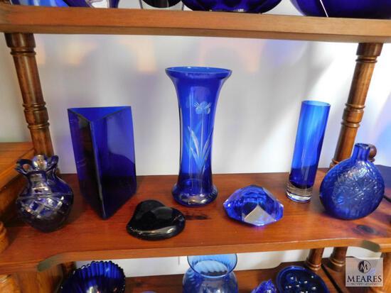 Lot of 7: Cobalt Blue Glass Decorations
