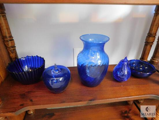 Lot of 6: Cobalt Blue Glass Decorations with Blue Glass Balls