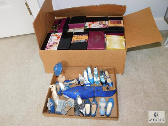 Large Lot of Decorative Ladies Shoes - Blue & White Tones