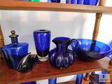 Lot of 6: Cobalt Blue Glass Decorations