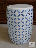 White Metal Accent Table with Blue Fabric Taped Inside