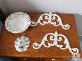 Lot of (2) Cast Iron Scrolls, Decorative Lace Bowl and Ceramic Masquerade Mask