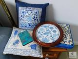 Lot: Asian Inspired Blue and White Pillows, Framed Cross-stitch and Notepad