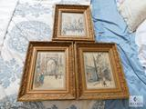 Lot of Paris Watercolor Prints in Gold Gilt Frames