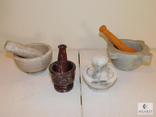 Lot of Four Mortar and Pestle Sets