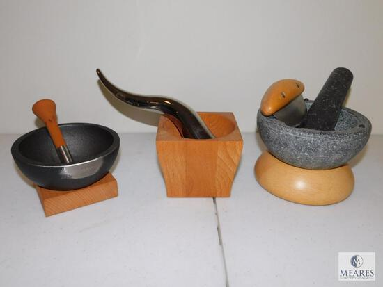 Lot of Three Mortar and Pestle Sets - Stone, Wood, Iron and Stainless