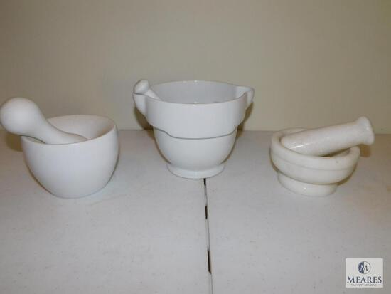 Lot of Three Mortar and Pestle Sets - White Stone, Ceramic and Porcelain