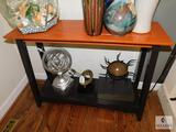 Sofa or Hall Table wood - black and terra cotta color