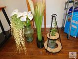 Lot of Three Glass vases with Faux Flowers and Iron Stand with Wine Corks