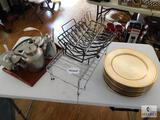 Lot of Baking Racks, Plastic Chargers, Wood Tray and Silver-tone Kettles