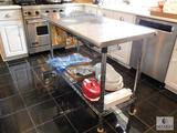 Stainless Steel Meal Prep Table with Shelf and Breadbox