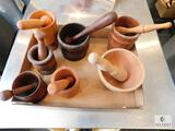 Lot of Seven Wood Mortar and Pestle Sets