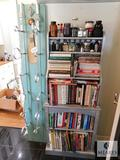 Lot Handmade Wine Rack and Wood Shelf with Assorted Cookbooks and Bottles