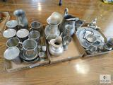 Lot of Assorted Pewter Pieces - Mugs, Vase, and more
