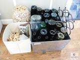 Lot of Assorted Wine Openers, Empty Wine Bottles and Corks