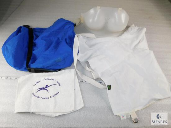 Lot Ladies Fencing Full Chest Protector Sz. 12B and White Cover Sz Medium with Storage bag