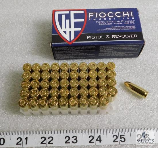 50 rounds Fiocchi 9mm ammunition, 115 grain FMJ 1200 FPS - Hard to Find!