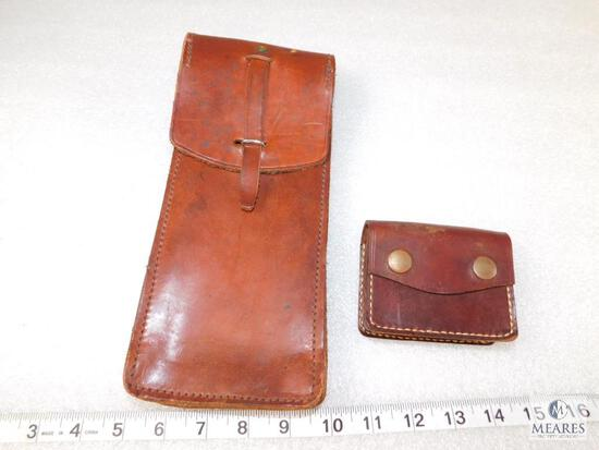 Qty 2 - leather ammo pouches, small and large