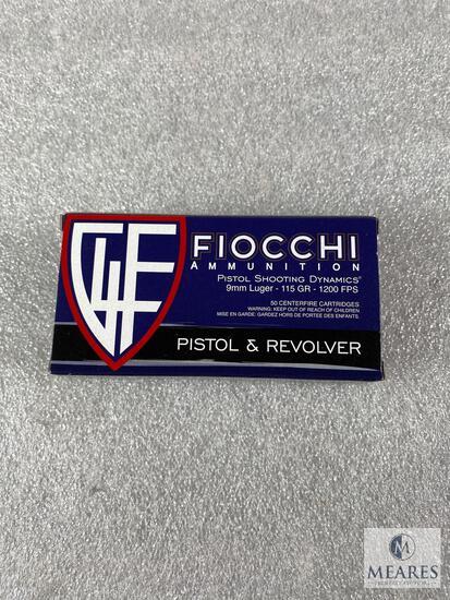 50 Rounds Fiocchi 9mm Ammo. Brass Cased 115 Grain FMJ.