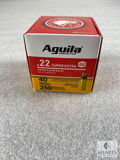 250 Rounds Aguila .22 Long Rifle Ammo. 40 Grain Copper Plated High Velocity. 1255 FPS.