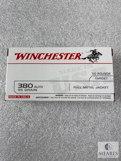 50 Rounds Winchester .380 ACP Ammo. 95 Grain FMJ Brass Case.
