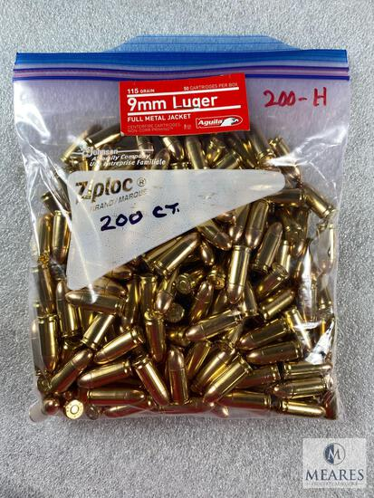 200 Rounds of 9mm Aguila 115-grain Ball Ammunition - Bulk Pack - New Production