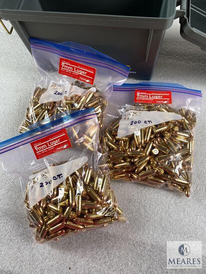 600 Rounds of 9mm Aguila 115-grain Ball Ammunition - Bulk Pack - New Production