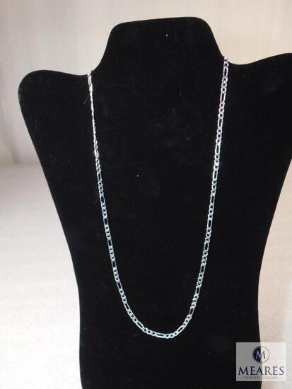 """22"""" Figaro Necklace 4mm 925 Sterling Silver 8 grams"""