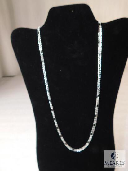 """24"""" Figaro Necklace 4mm 925 Sterling Silver 9 grams"""