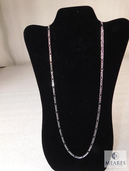 """28"""" Figaro Necklace 4mm 925 Sterling Silver 10 grams"""