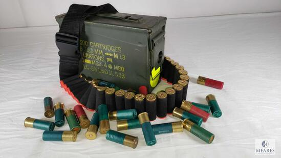 68 Rounds 12 Gauge Buckshot Shells, Bandolier & Metal Ammo Can