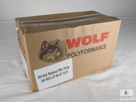 Case 500 Rounds Wolf Performance .300 AAC Blackout Ammo FMJ 145 Grain