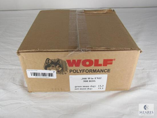 Case 500 Rounds Wolf Performance .308 WIN Ammo FMJ 145 Grain