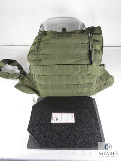 "Tactical Scorpion Gear Level III Ballistic Body Armor Molle Green Vest & (2) Strike Faces 10"" x 12"""