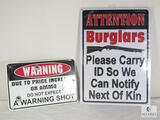 Lot of 2 Warning Tin Signs - Trespassing & Burglars Please Carry ID to Notify Next of Kin