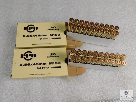 40 Rounds Prvi Partizan PPU Ammo M193 5.56x45mm M193 55 Grain FMJ boat tail
