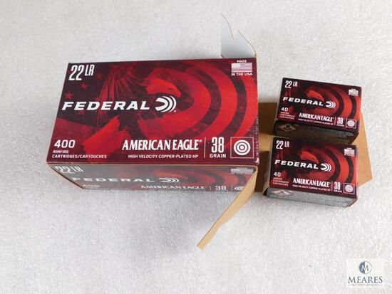 400 Rounds Federal .22 LR Ammo 38 Grain Copper Plated HP High Velocity