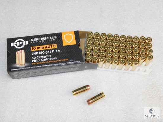 50 Rounds Prvi Partizan PPU 10mm Defense Ammo 180 Grain Jacketed Hollow Point