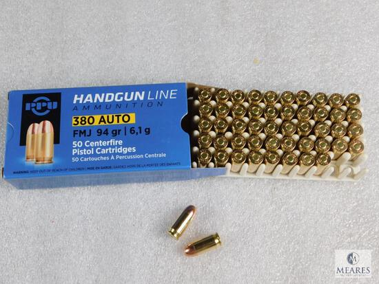 50 Rounds PPU .380 ACP 94 Grain FMJ Brass Cased - Very hard to Find